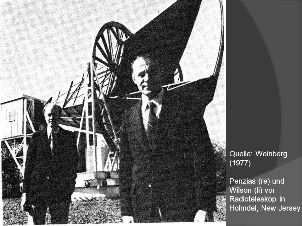 Quelle: Weinberg (1977) Penzias (re) und Wilson (li) vor Radioteleskop in Holmdel, New Jersey