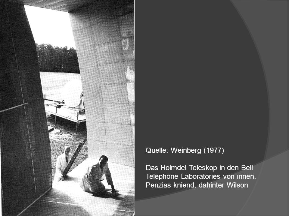 Quelle: Weinberg (1977) Das Holmdel Teleskop in den Bell Telephone Laboratories von innen. Penzias kniend, dahinter Wilson