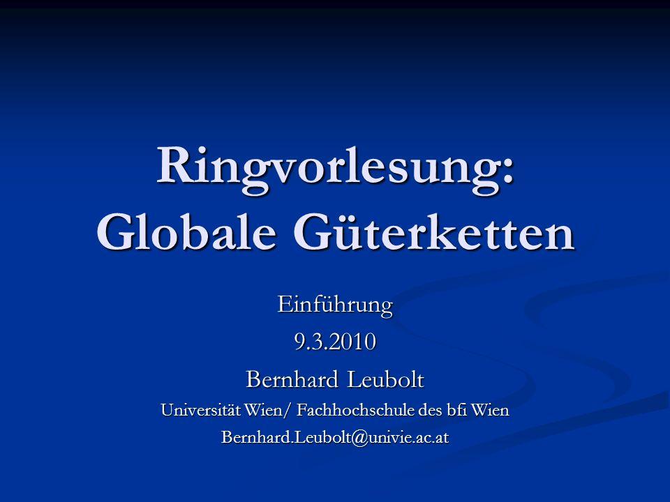 Ringvorlesung: Globale Güterketten Einführung9.3.2010 Bernhard Leubolt Universität Wien/ Fachhochschule des bfi Wien Bernhard.Leubolt@univie.ac.at