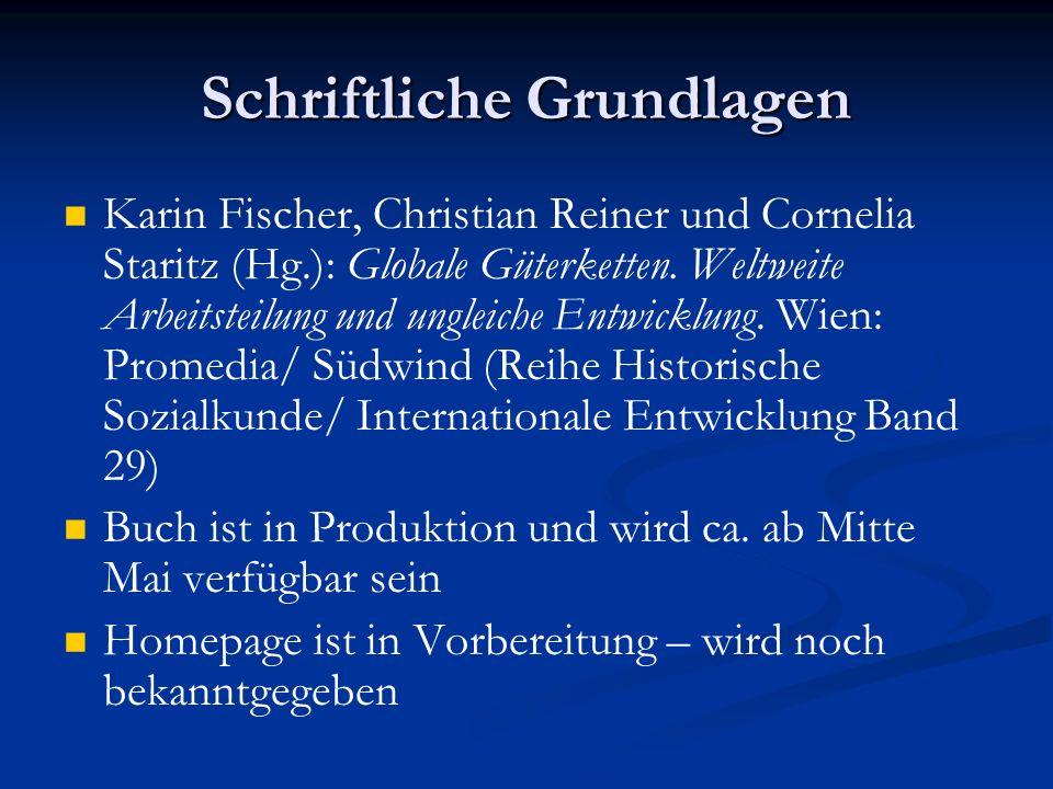 Schriftliche Grundlagen Karin Fischer, Christian Reiner und Cornelia Staritz (Hg.): Globale Güterketten.