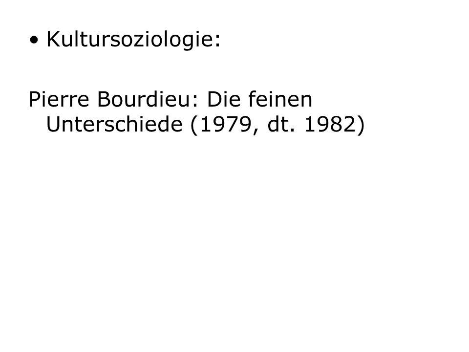Kultursoziologie: Pierre Bourdieu: Die feinen Unterschiede (1979, dt. 1982)
