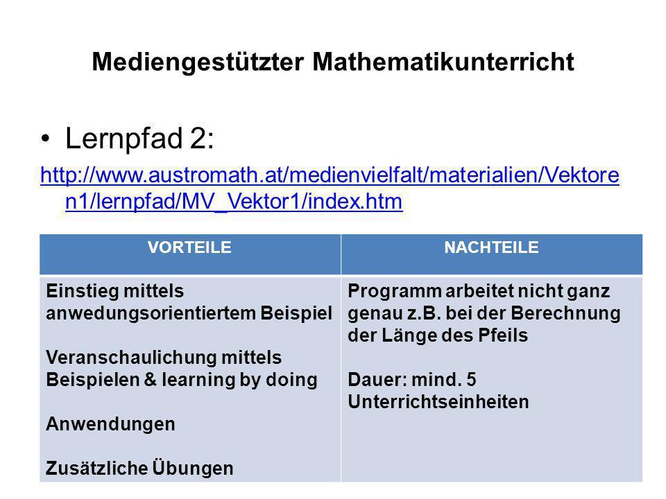 Mediengestützter Mathematikunterricht Lernpfad 2: http://www.austromath.at/medienvielfalt/materialien/Vektore n1/lernpfad/MV_Vektor1/index.htm VORTEIL
