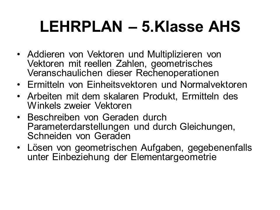 LEHRPLAN – 5.Klasse AHS Addieren von Vektoren und Multiplizieren von Vektoren mit reellen Zahlen, geometrisches Veranschaulichen dieser Rechenoperatio