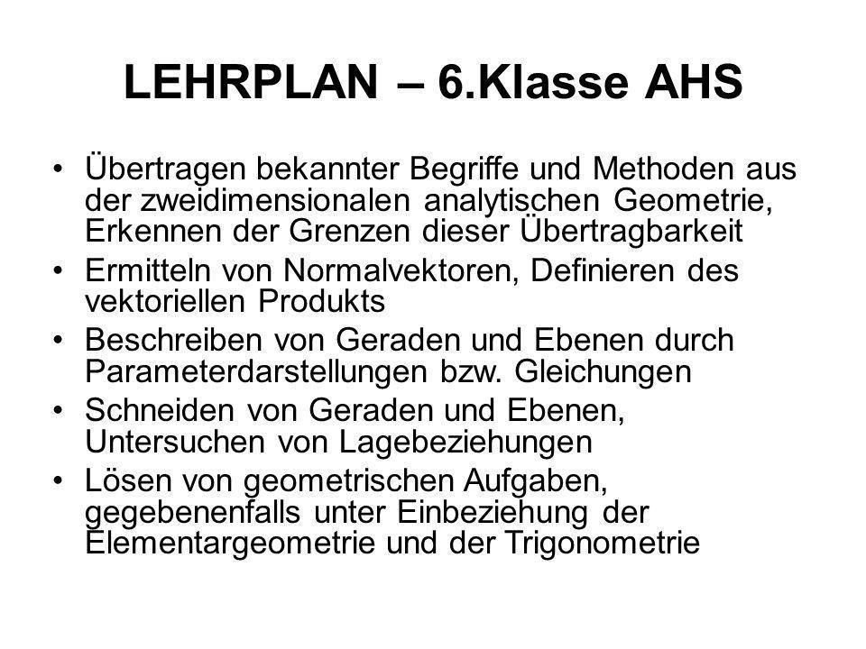 LEHRPLAN – 6.Klasse AHS Übertragen bekannter Begriffe und Methoden aus der zweidimensionalen analytischen Geometrie, Erkennen der Grenzen dieser Übert