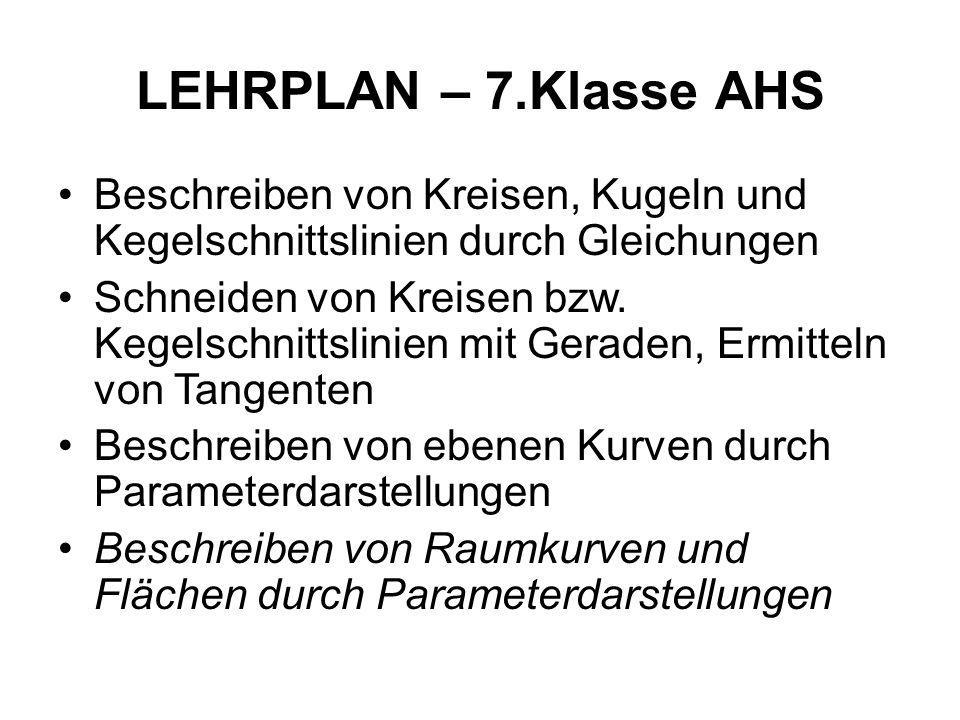 LEHRPLAN – 7.Klasse AHS Beschreiben von Kreisen, Kugeln und Kegelschnittslinien durch Gleichungen Schneiden von Kreisen bzw. Kegelschnittslinien mit G