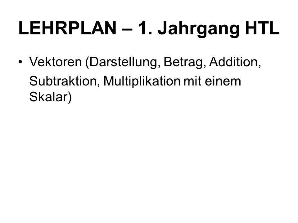 LEHRPLAN – 1. Jahrgang HTL Vektoren (Darstellung, Betrag, Addition, Subtraktion, Multiplikation mit einem Skalar)