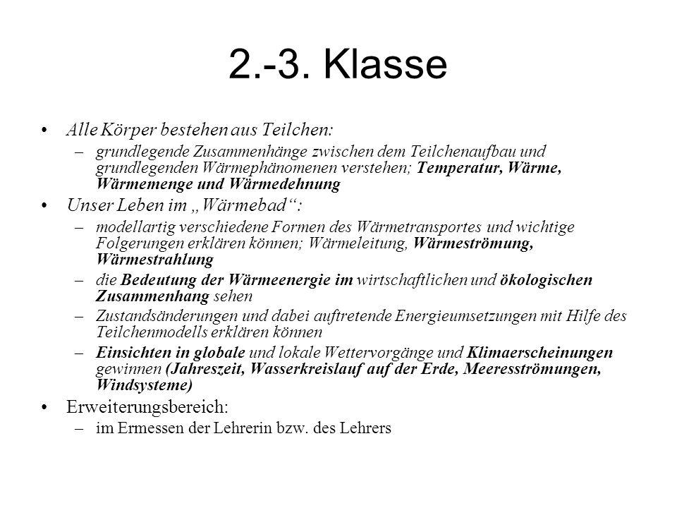 2.-3. Klasse Alle Körper bestehen aus Teilchen: –grundlegende Zusammenhänge zwischen dem Teilchenaufbau und grundlegenden Wärmephänomenen verstehen; T