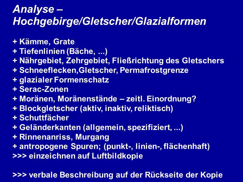 Analyse – Hochgebirge/Gletscher/Glazialformen + Kämme, Grate + Tiefenlinien (Bäche,...) + Nährgebiet, Zehrgebiet, Fließrichtung des Gletschers + Schne