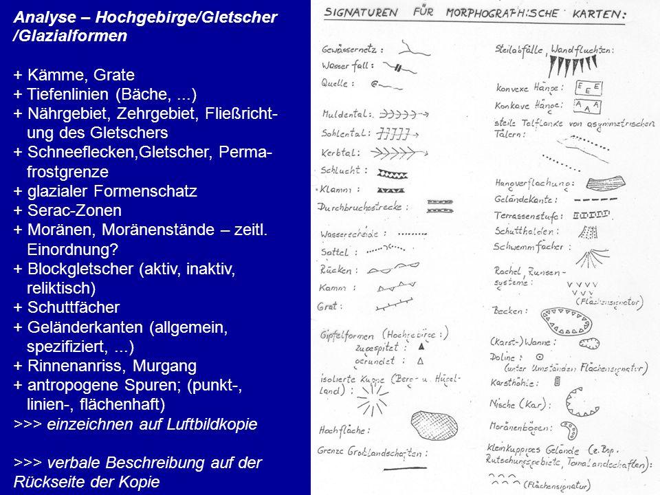 Analyse – Hochgebirge/Gletscher /Glazialformen + Kämme, Grate + Tiefenlinien (Bäche,...) + Nährgebiet, Zehrgebiet, Fließricht- ung des Gletschers + Sc