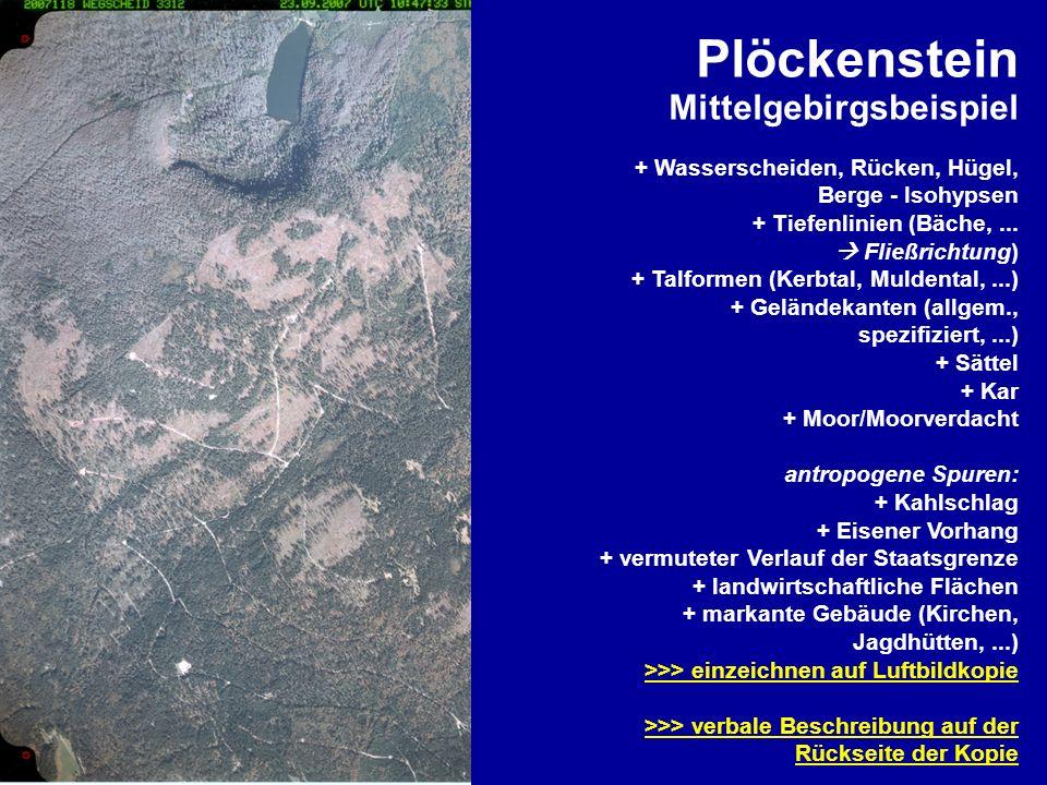 Plöckenstein Mittelgebirgsbeispiel + Wasserscheiden, Rücken, Hügel, Berge - Isohypsen + Tiefenlinien (Bäche,... Fließrichtung) + Talformen (Kerbtal, M