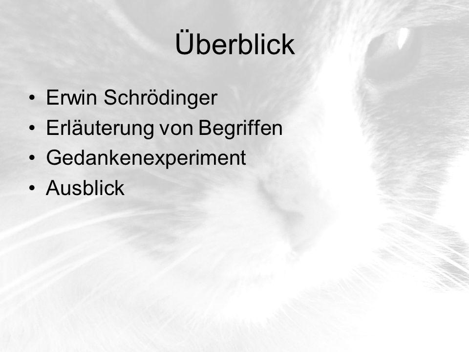 Überblick Erwin Schrödinger Erläuterung von Begriffen Gedankenexperiment Ausblick