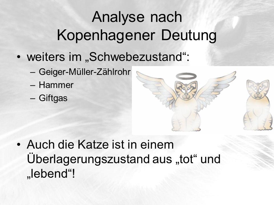 Analyse nach Kopenhagener Deutung weiters im Schwebezustand: –Geiger-Müller-Zählrohr –Hammer –Giftgas Auch die Katze ist in einem Überlagerungszustand