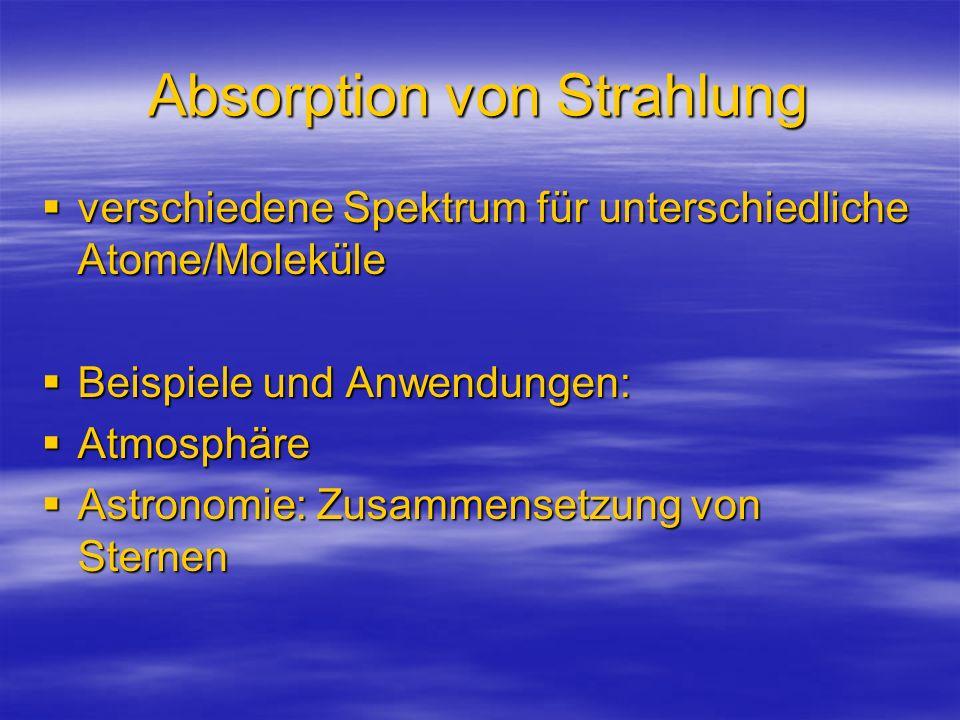 Absorption von Strahlung verschiedene Spektrum für unterschiedliche Atome/Moleküle verschiedene Spektrum für unterschiedliche Atome/Moleküle Beispiele