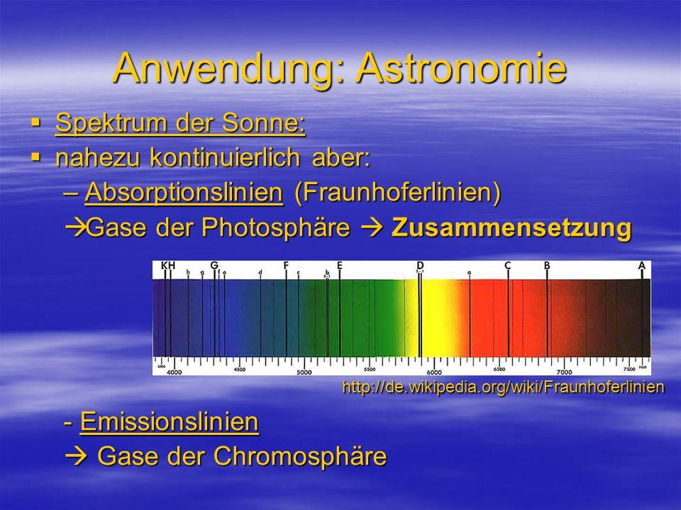 Anwendung: Astronomie Spektrum der Sonne: Spektrum der Sonne: nahezu kontinuierlich aber: nahezu kontinuierlich aber: –Absorptionslinien (Fraunhoferli
