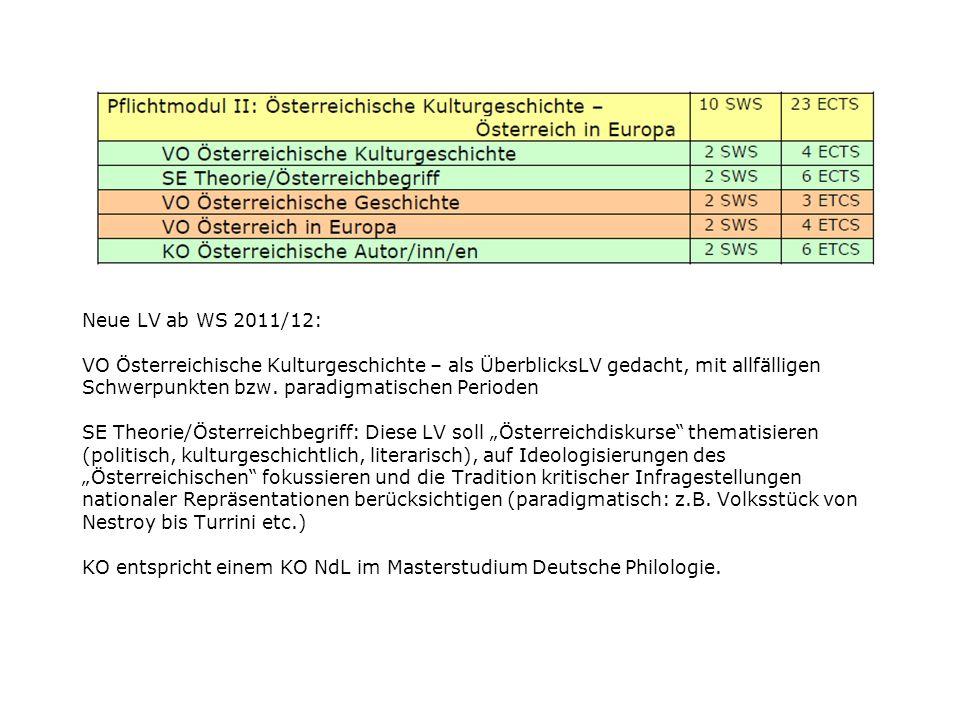 Neue LV ab WS 2011/12: VO Österreichische Kulturgeschichte – als ÜberblicksLV gedacht, mit allfälligen Schwerpunkten bzw.