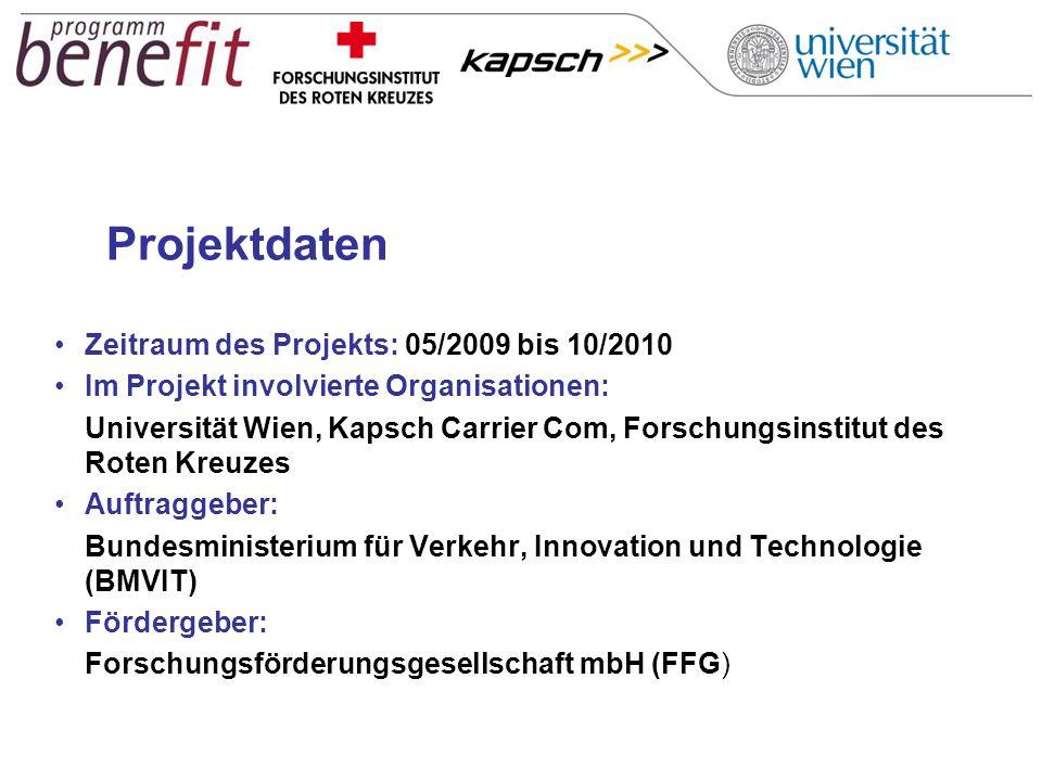 Projektdaten Zeitraum des Projekts: 05/2009 bis 10/2010 Im Projekt involvierte Organisationen: Universität Wien, Kapsch Carrier Com, Forschungsinstitu