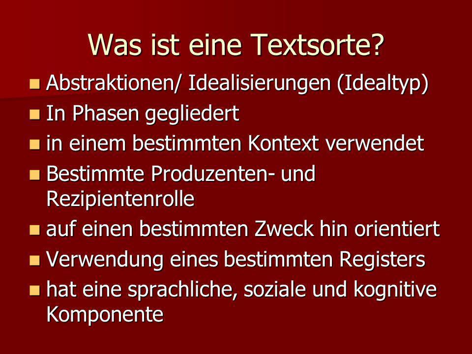 Was ist eine Textsorte? Abstraktionen/ Idealisierungen (Idealtyp) Abstraktionen/ Idealisierungen (Idealtyp) In Phasen gegliedert In Phasen gegliedert