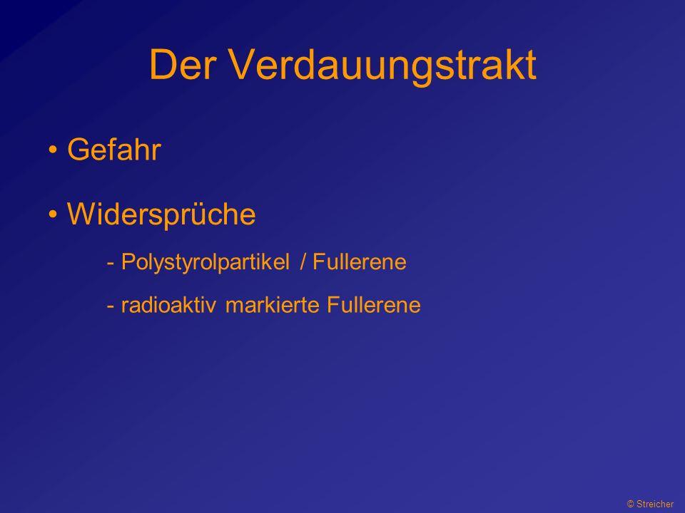 Der Verdauungstrakt © Streicher Gefahr Widersprüche - Polystyrolpartikel / Fullerene - radioaktiv markierte Fullerene