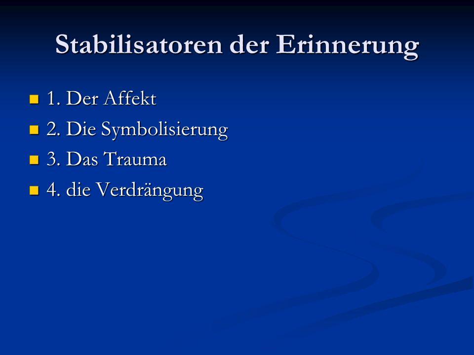 Stabilisatoren der Erinnerung 1. Der Affekt 1. Der Affekt 2. Die Symbolisierung 2. Die Symbolisierung 3. Das Trauma 3. Das Trauma 4. die Verdrängung 4