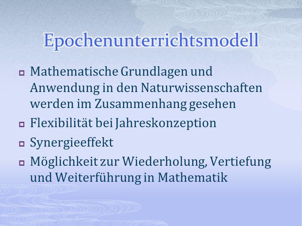 Mathematische Grundlagen und Anwendung in den Naturwissenschaften werden im Zusammenhang gesehen Flexibilität bei Jahreskonzeption Synergieeffekt Mögl