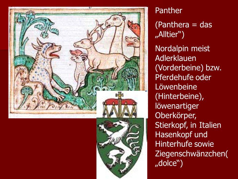 Panther (Panthera = das Alltier) Nordalpin meist Adlerklauen (Vorderbeine) bzw. Pferdehufe oder Löwenbeine (Hinterbeine), löwenartiger Oberkörper, Sti