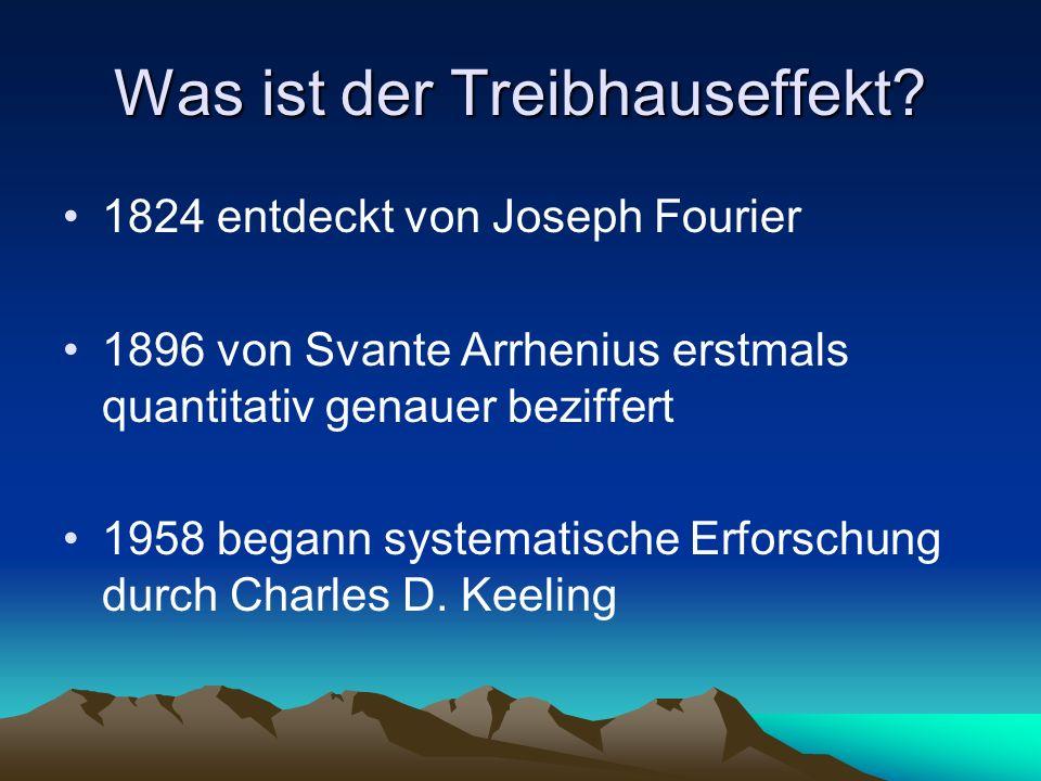 Was ist der Treibhauseffekt? 1824 entdeckt von Joseph Fourier 1896 von Svante Arrhenius erstmals quantitativ genauer beziffert 1958 begann systematisc
