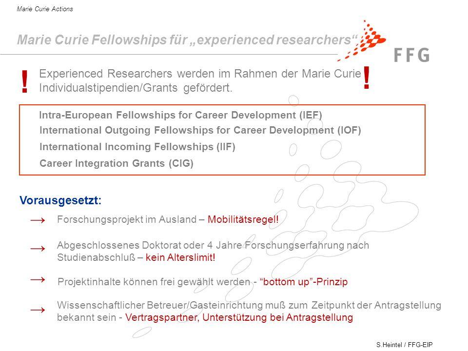 S.Heintel / FFG-EIP Marie Curie Actions Marie Curie Fellowships für experienced researchers Forschungsprojekt im Ausland – Mobilitätsregel.