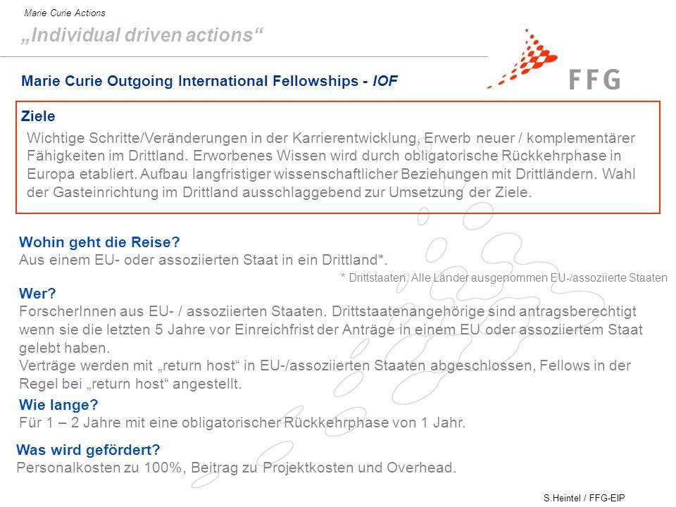 S.Heintel / FFG-EIP Marie Curie Actions Marie Curie Outgoing International Fellowships - IOF Ziele Wichtige Schritte/Veränderungen in der Karrierentwicklung, Erwerb neuer / komplementärer Fähigkeiten im Drittland.