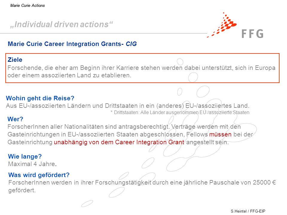 S.Heintel / FFG-EIP Marie Curie Actions Marie Curie Career Integration Grants- CIG Ziele Wohin geht die Reise.