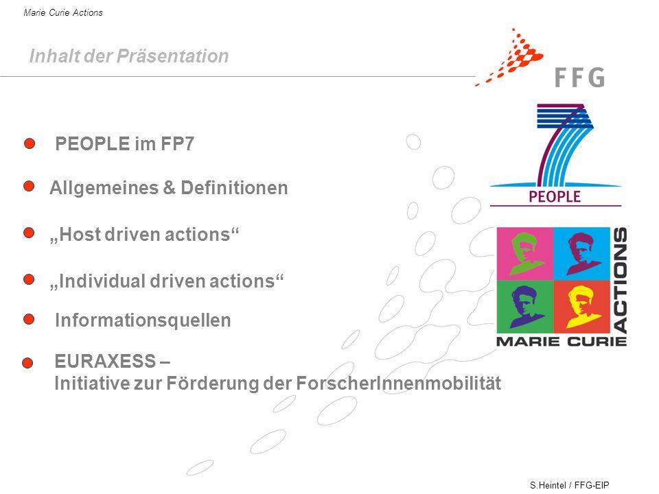 S.Heintel / FFG-EIP Marie Curie Actions Inhalt der Präsentation Allgemeines & Definitionen Host driven actions Individual driven actions EURAXESS – Initiative zur Förderung der ForscherInnenmobilität PEOPLE im FP7 Informationsquellen