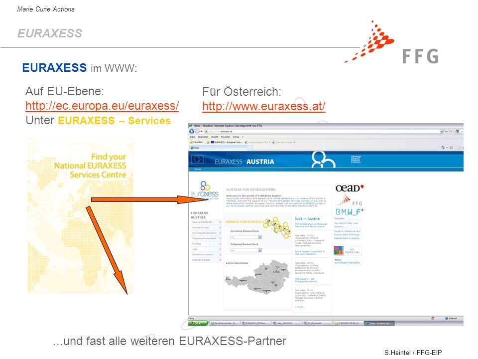 S.Heintel / FFG-EIP Marie Curie Actions EURAXESS Auf EU-Ebene: http://ec.europa.eu/euraxess/ http://ec.europa.eu/euraxess/ Unter EURAXESS – Services Für Österreich: http://www.euraxess.at/ EURAXESS im WWW:...und fast alle weiteren EURAXESS-Partner