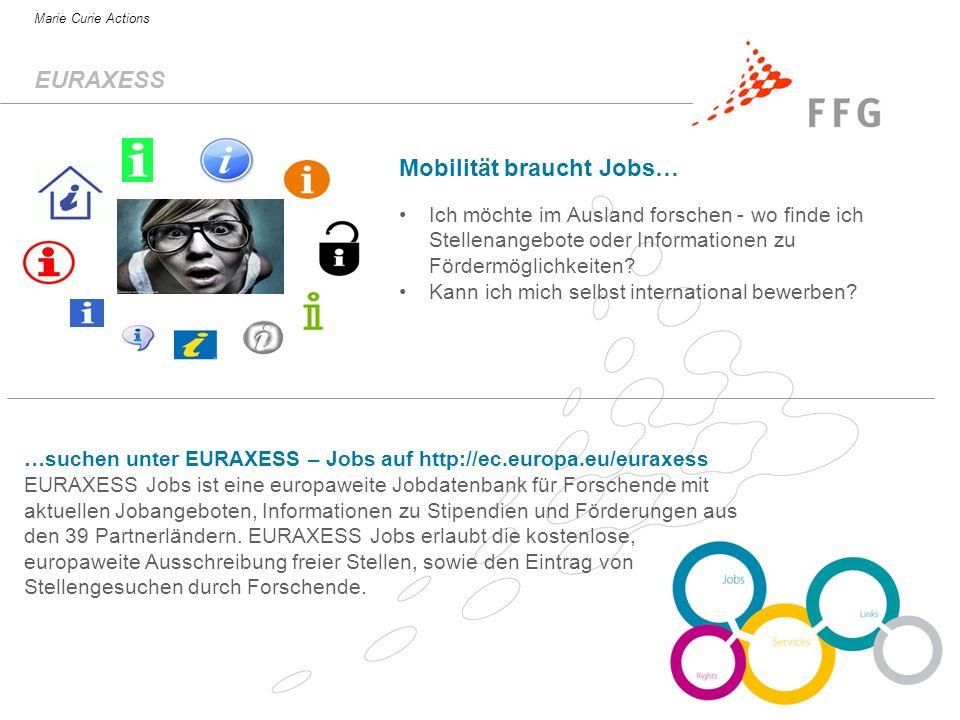 S.Heintel / FFG-EIP Marie Curie Actions …suchen unter EURAXESS – Jobs auf http://ec.europa.eu/euraxess EURAXESS Jobs ist eine europaweite Jobdatenbank für Forschende mit aktuellen Jobangeboten, Informationen zu Stipendien und Förderungen aus den 39 Partnerländern.