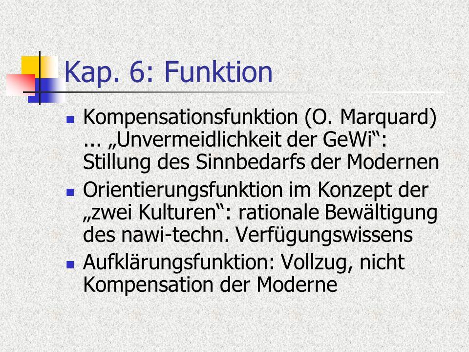Kap. 6: Funktion Kompensationsfunktion (O. Marquard)... Unvermeidlichkeit der GeWi: Stillung des Sinnbedarfs der Modernen Orientierungsfunktion im Kon