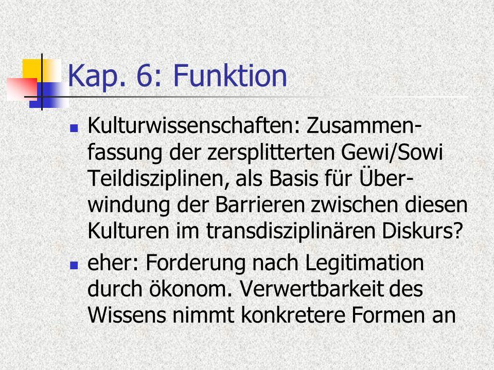 Kap. 6: Funktion Kulturwissenschaften: Zusammen- fassung der zersplitterten Gewi/Sowi Teildisziplinen, als Basis für Über- windung der Barrieren zwisc