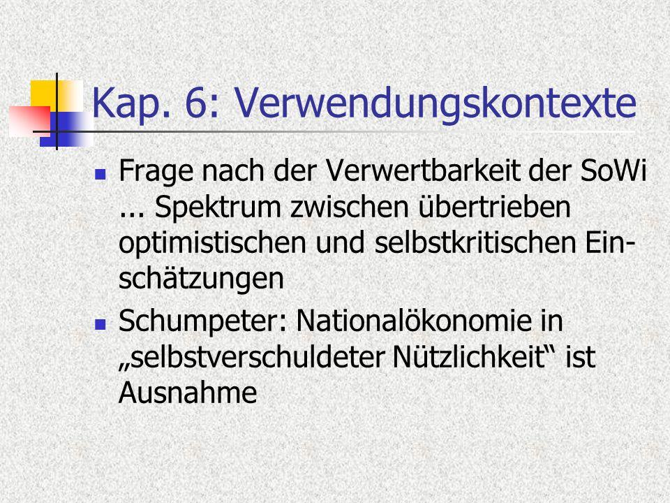 Kap. 6: Verwendungskontexte Frage nach der Verwertbarkeit der SoWi... Spektrum zwischen übertrieben optimistischen und selbstkritischen Ein- schätzung