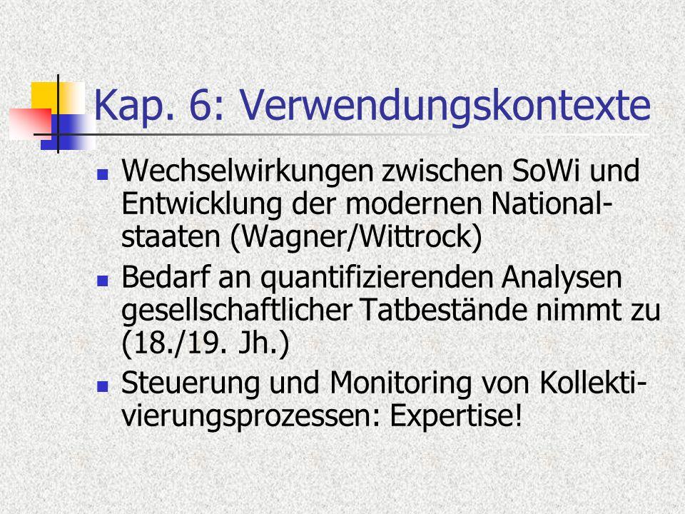 Kap. 6: Verwendungskontexte Wechselwirkungen zwischen SoWi und Entwicklung der modernen National- staaten (Wagner/Wittrock) Bedarf an quantifizierende