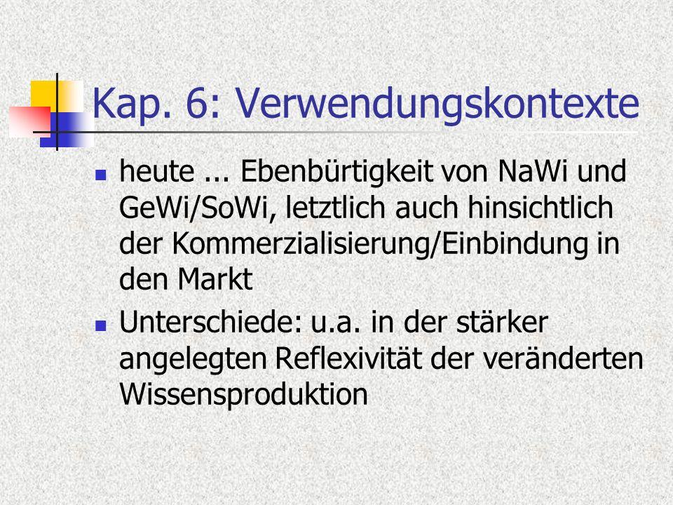 Kap. 6: Verwendungskontexte heute... Ebenbürtigkeit von NaWi und GeWi/SoWi, letztlich auch hinsichtlich der Kommerzialisierung/Einbindung in den Markt