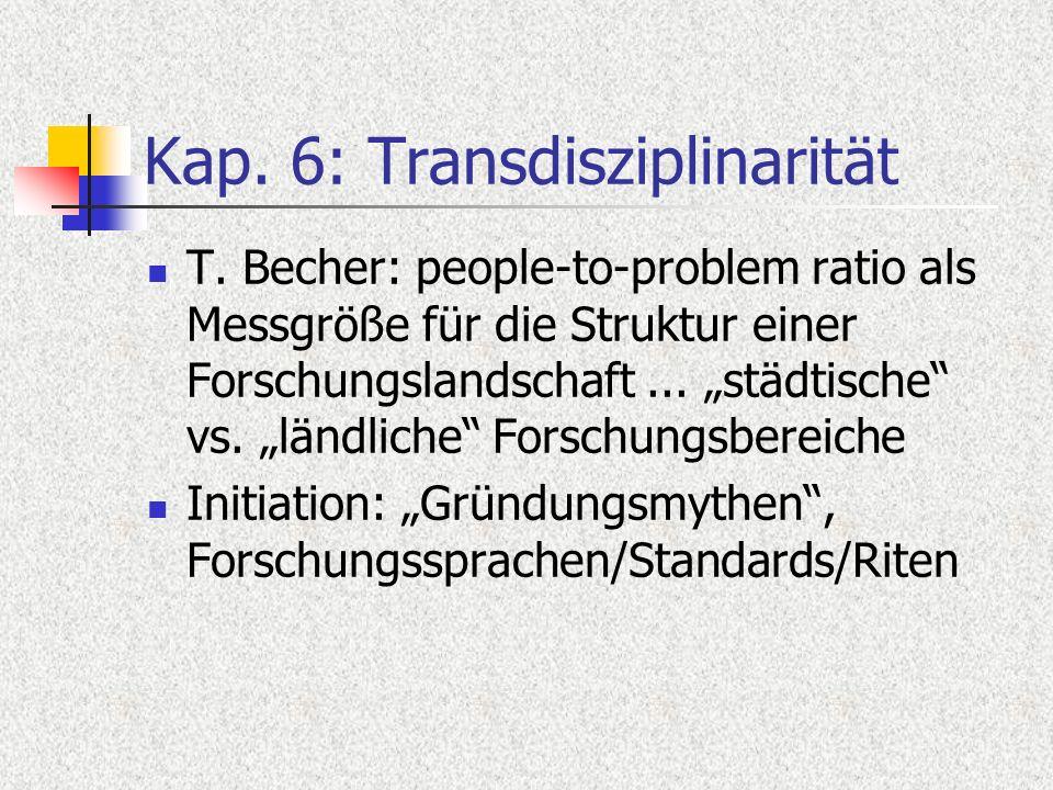 Kap. 6: Transdisziplinarität T. Becher: people-to-problem ratio als Messgröße für die Struktur einer Forschungslandschaft... städtische vs. ländliche