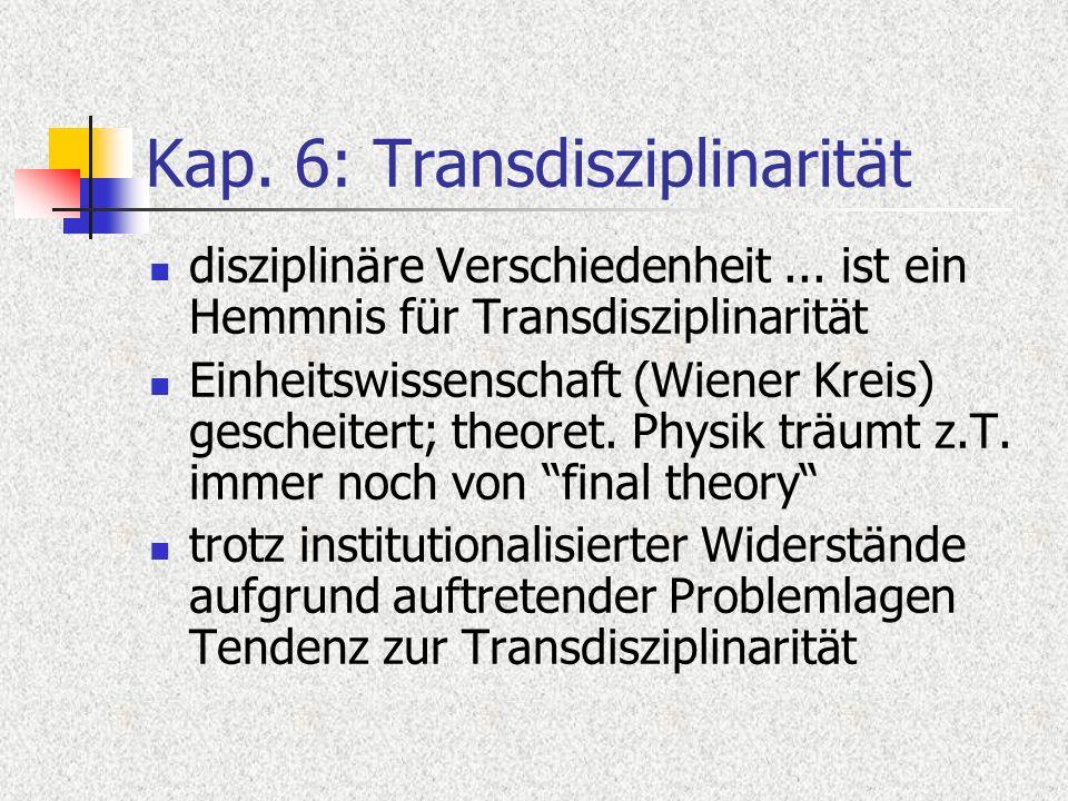 Kap. 6: Transdisziplinarität disziplinäre Verschiedenheit... ist ein Hemmnis für Transdisziplinarität Einheitswissenschaft (Wiener Kreis) gescheitert;