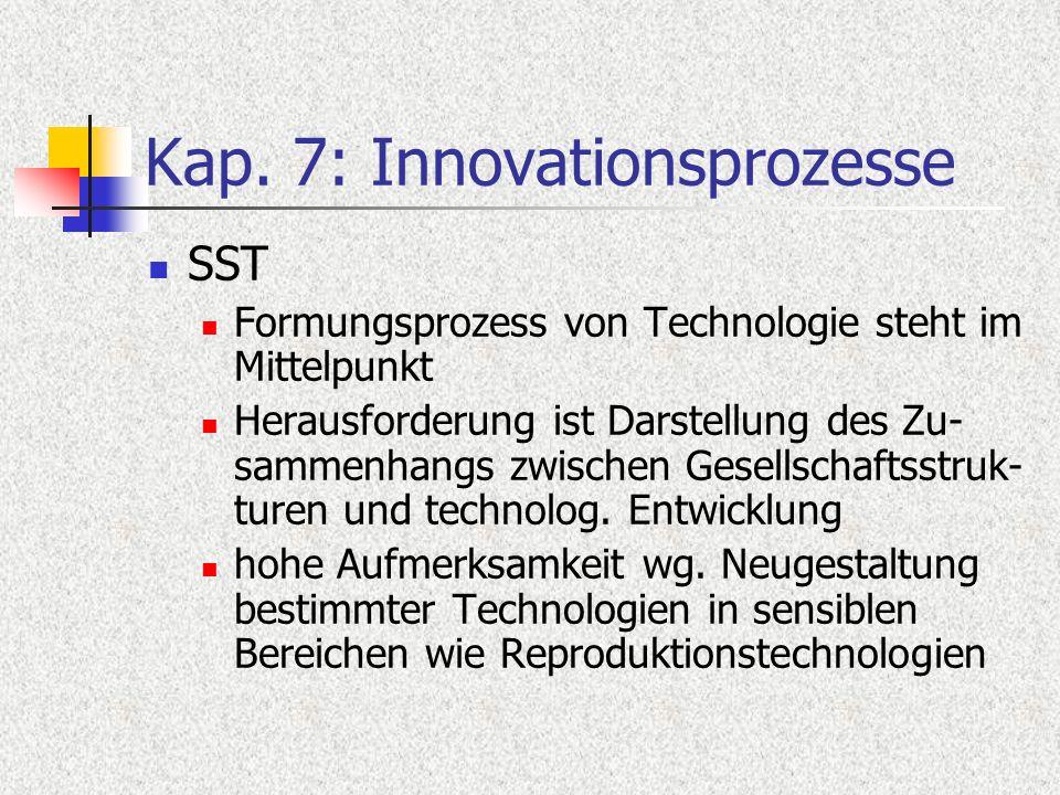 Kap. 7: Innovationsprozesse SST Formungsprozess von Technologie steht im Mittelpunkt Herausforderung ist Darstellung des Zu- sammenhangs zwischen Gese