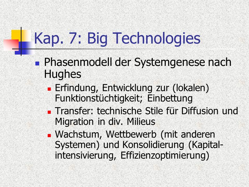 Kap. 7: Big Technologies Phasenmodell der Systemgenese nach Hughes Erfindung, Entwicklung zur (lokalen) Funktionstüchtigkeit; Einbettung Transfer: tec