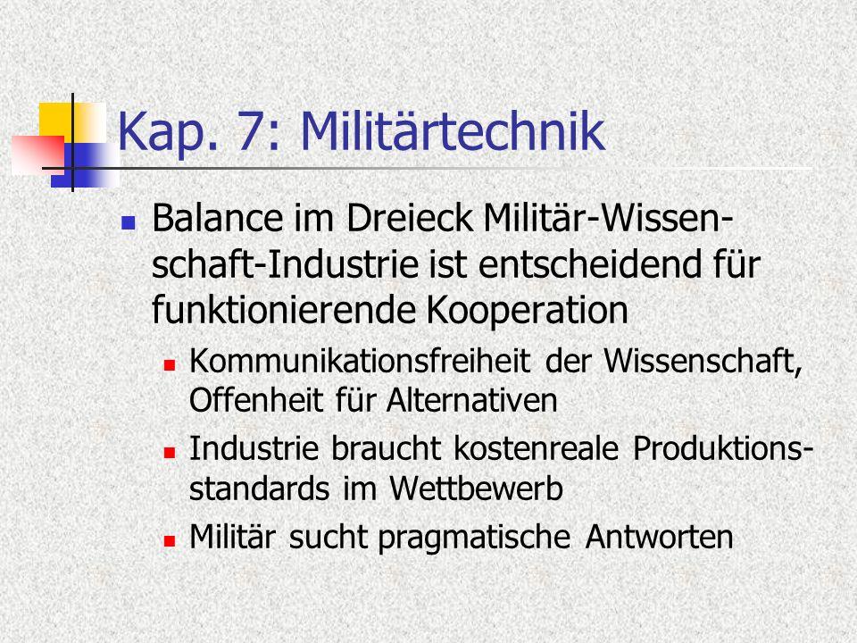 Kap. 7: Militärtechnik Balance im Dreieck Militär-Wissen- schaft-Industrie ist entscheidend für funktionierende Kooperation Kommunikationsfreiheit der