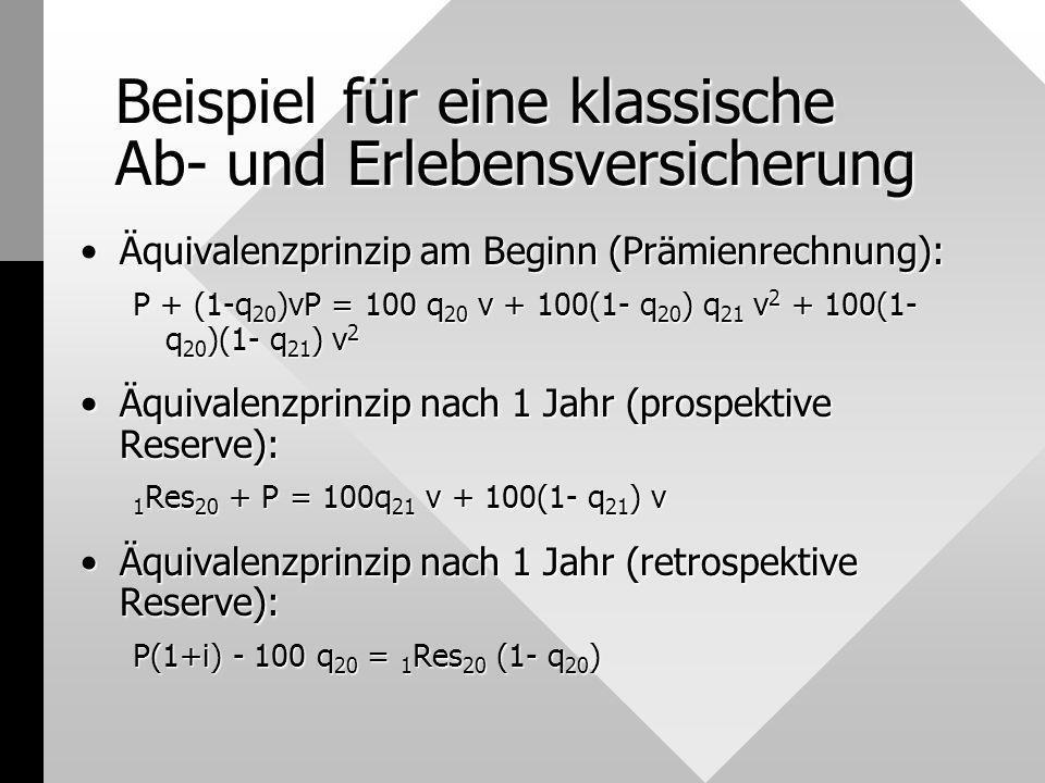Beispiel für eine klassische Ab- und Erlebensversicherung Äquivalenzprinzip am Beginn (Prämienrechnung):Äquivalenzprinzip am Beginn (Prämienrechnung):