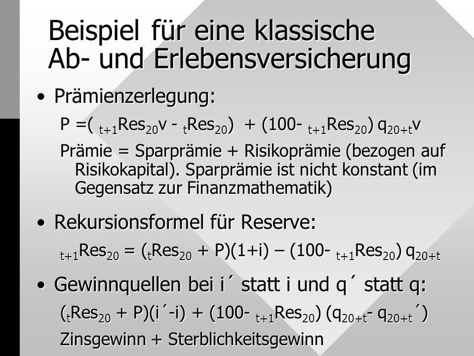 Beispiel für eine klassische Ab- und Erlebensversicherung Prämienzerlegung:Prämienzerlegung: P =( t+1 Res 20 v - t Res 20 ) + (100- t+1 Res 20 ) q 20+
