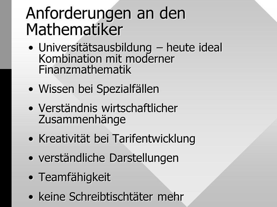 Anforderungen an den Mathematiker Universitätsausbildung – heute ideal Kombination mit moderner FinanzmathematikUniversitätsausbildung – heute ideal K