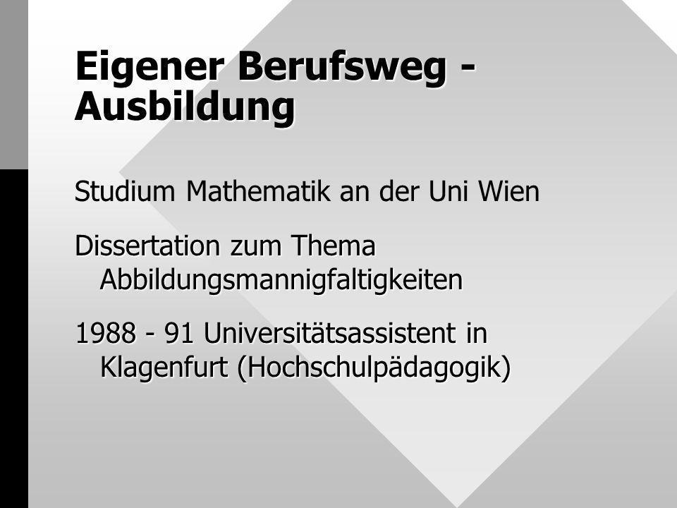 Eigener Berufsweg - Ausbildung Studium Mathematik an der Uni Wien Dissertation zum Thema Abbildungsmannigfaltigkeiten 1988 - 91 Universitätsassistent