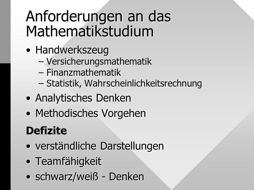 Anforderungen an das Mathematikstudium HandwerkszeugHandwerkszeug –Versicherungsmathematik –Finanzmathematik –Statistik, Wahrscheinlichkeitsrechnung A