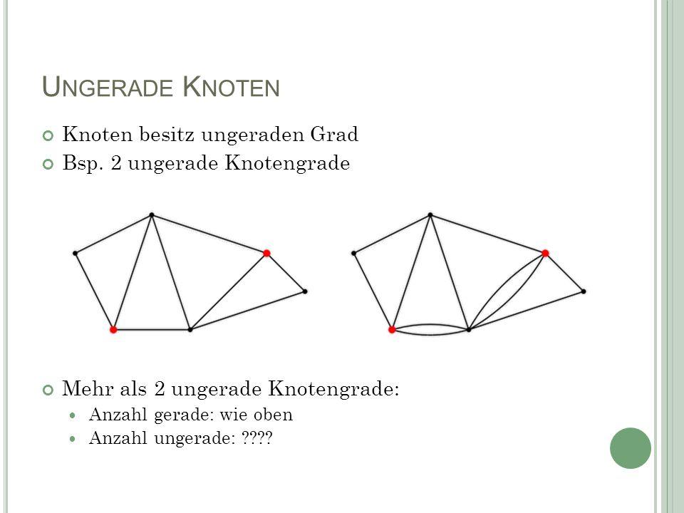 U NGERADE K NOTEN Knoten besitz ungeraden Grad Bsp. 2 ungerade Knotengrade Mehr als 2 ungerade Knotengrade: Anzahl gerade: wie oben Anzahl ungerade: ?