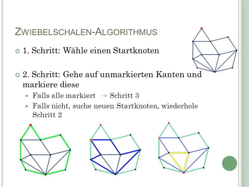 Z WIEBELSCHALEN -A LGORITHMUS 1. Schritt: Wähle einen Startknoten 2.