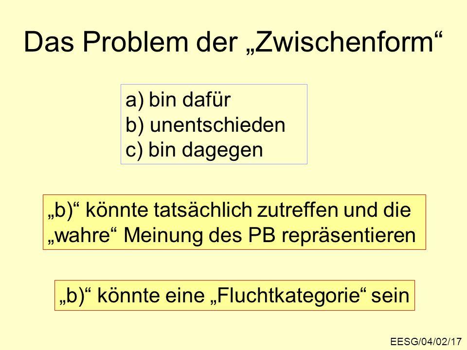 EESG/04/02/17 Das Problem der Zwischenform a)bin dafür b) unentschieden c) bin dagegen b) könnte tatsächlich zutreffen und die wahre Meinung des PB repräsentieren b) könnte eine Fluchtkategorie sein